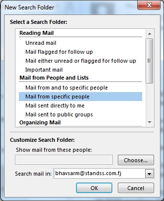 outlook new search folder
